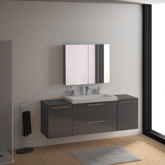 Meuble de salle de bains plus de 120 gris argent remix for Meuble sous vasque 100 cm
