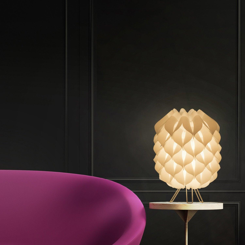 Lampe, design, métal blanc Iris