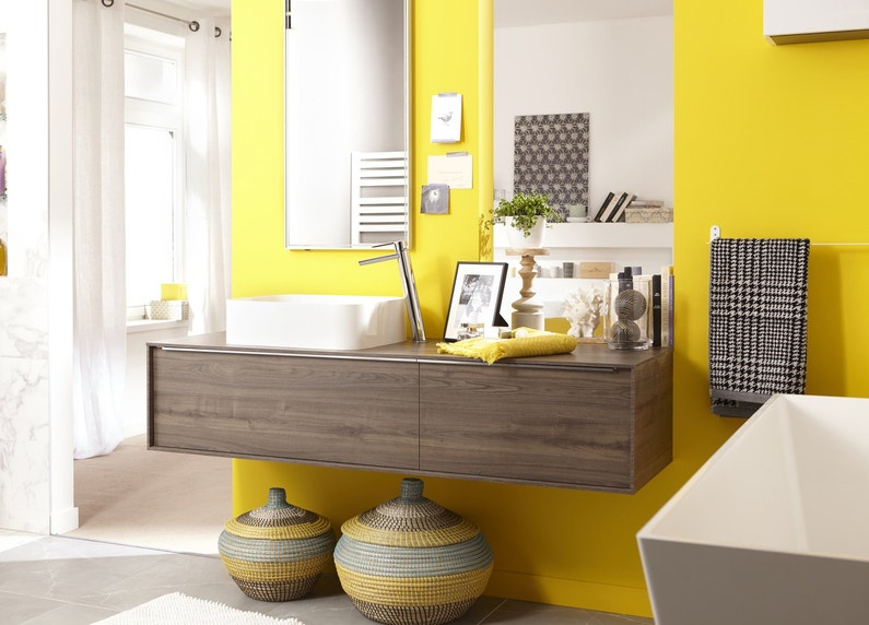 Une salle de bains jaune leroy merlin - Meuble salle de bain neo leroy merlin ...