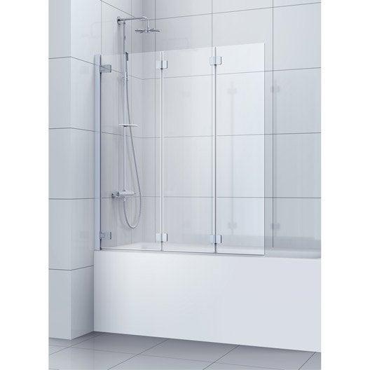 Pare-baignoire 3 volets pivotant 150x120cm verre de sécu sérigraphié Charm