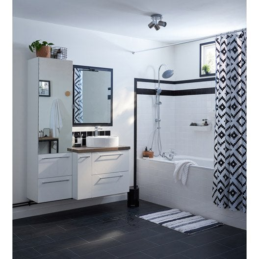 rideau de douche en plastique noir x cm. Black Bedroom Furniture Sets. Home Design Ideas