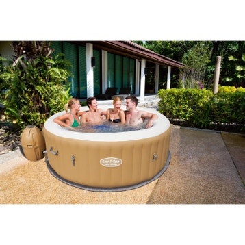 Jacuzzi gonflable contour bois awesome jacuzzi gonflable for Leclerc spa gonflable