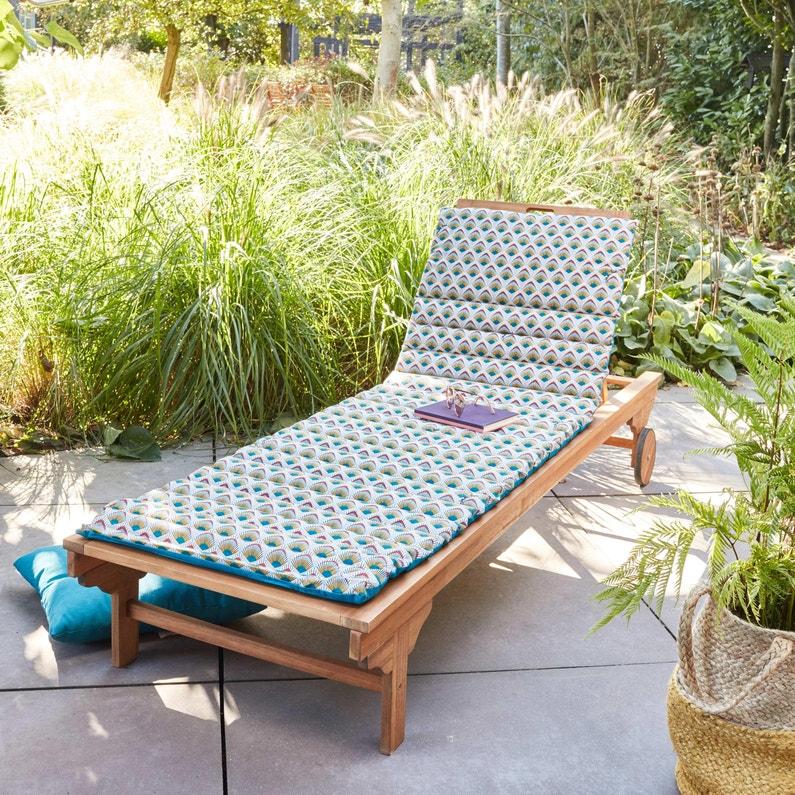 Coussin De Jardin Plume De Paon Jardin Prive Bleu L 60 Cm