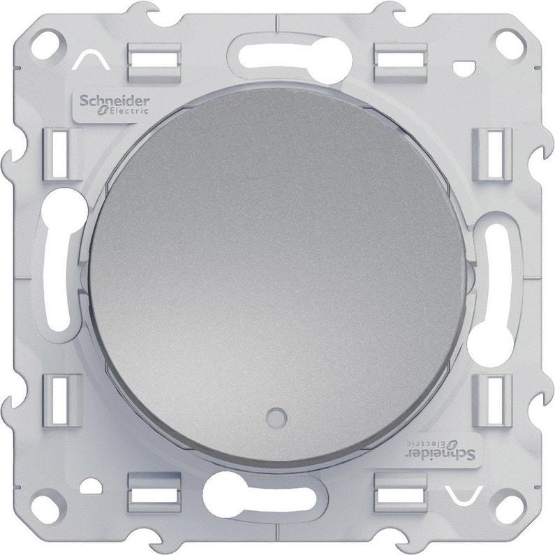 Interrupteur Vv à Voyant Lumineux Odace Schneider Electric Gris Aluminium