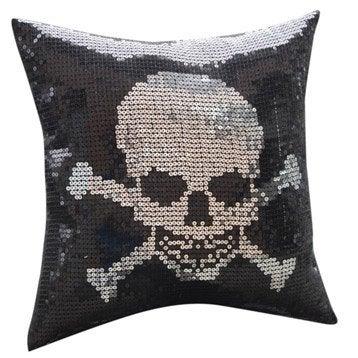 coussin t te de mort noir et argent 40 x 40 cm. Black Bedroom Furniture Sets. Home Design Ideas