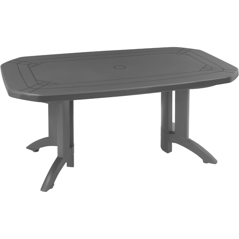 Table de jardin de repas GROSFILLEX Véga rectangulaire anthracite, 6 ...