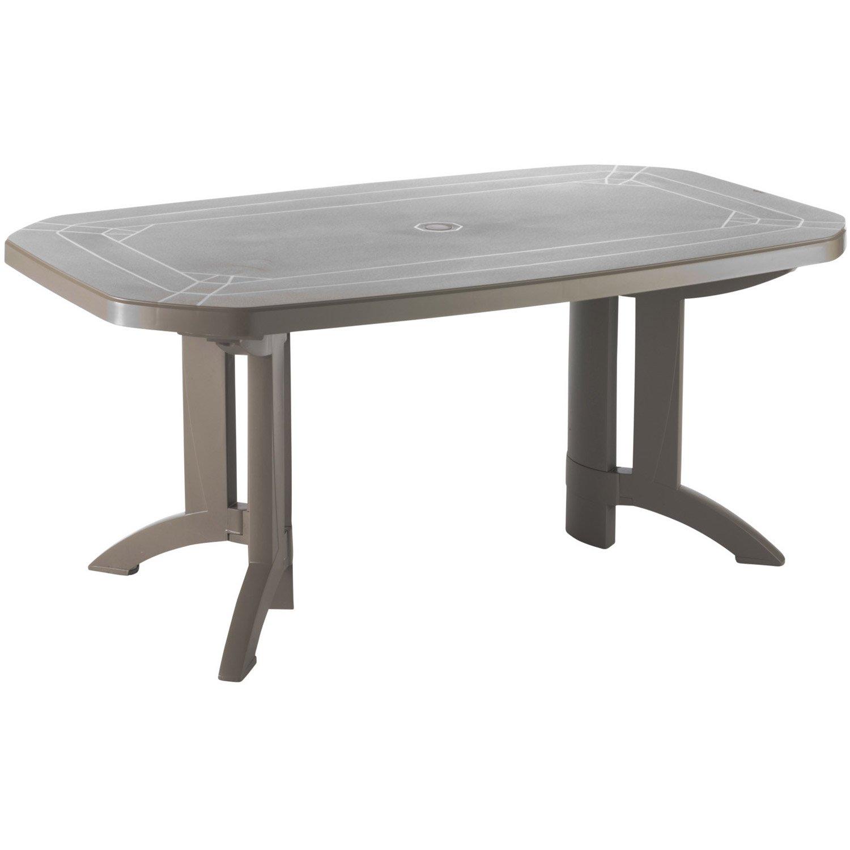 Table de jardin de repas GROSFILLEX Véga rectangulaire taupe, 6/8 ...