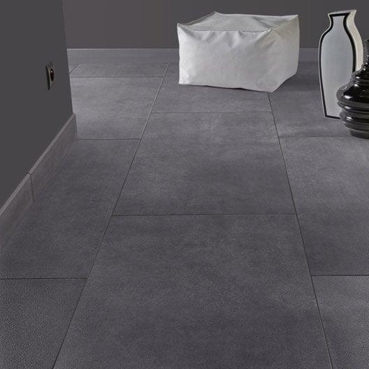 Carrelage sol et mur gris smoke effet b ton live leroy for Carrelage 75x75 gris