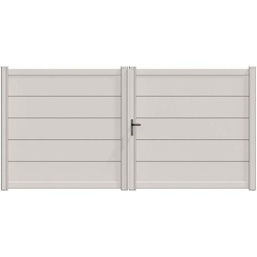 Portail battant aluminium hezo blanc naterial cm x cm leroy merlin for Portail aluminium blanc battant