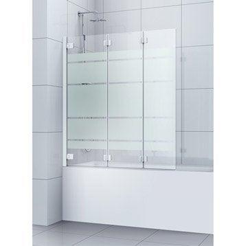 Pare-baignoire 3 volets pivotant pliant 150x120 cm verre sécu sérigraphié Charm