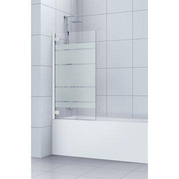 Pare-baignoire 1 volet pivotant H.150 x l.95 cm verre de sécu transparent Charm