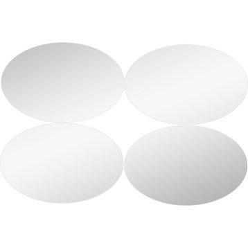 Lot de 4 miroirs non lumineux adhésifs ovales l.13 x L.20 cm