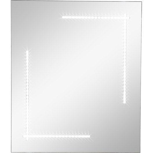 Miroir lumineux r tro clair par led clara sensea x for Miroir 60 x 70