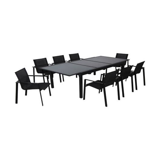 table de jardin miami rectangulaire noir 8 personnes leroy merlin. Black Bedroom Furniture Sets. Home Design Ideas