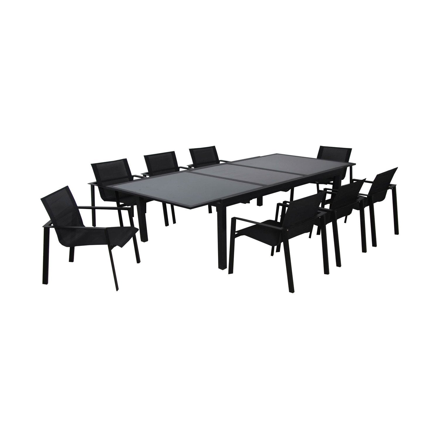 Table de jardin Miami rectangulaire noir 8 personnes | Leroy Merlin