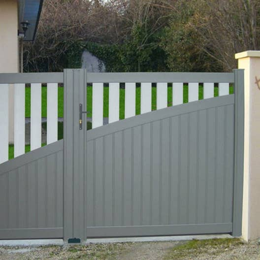 Portail battant aluminium cancale gris galet multisep blanc naterial x h leroy merlin for Portail aluminium blanc battant