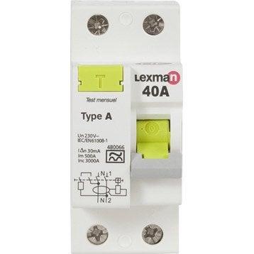Interrupteur différentiel LEXMAN, 30 mA 40 A A