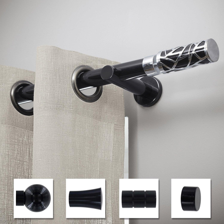 support tringle rideau chic 28 mm noir brillant inspire. Black Bedroom Furniture Sets. Home Design Ideas