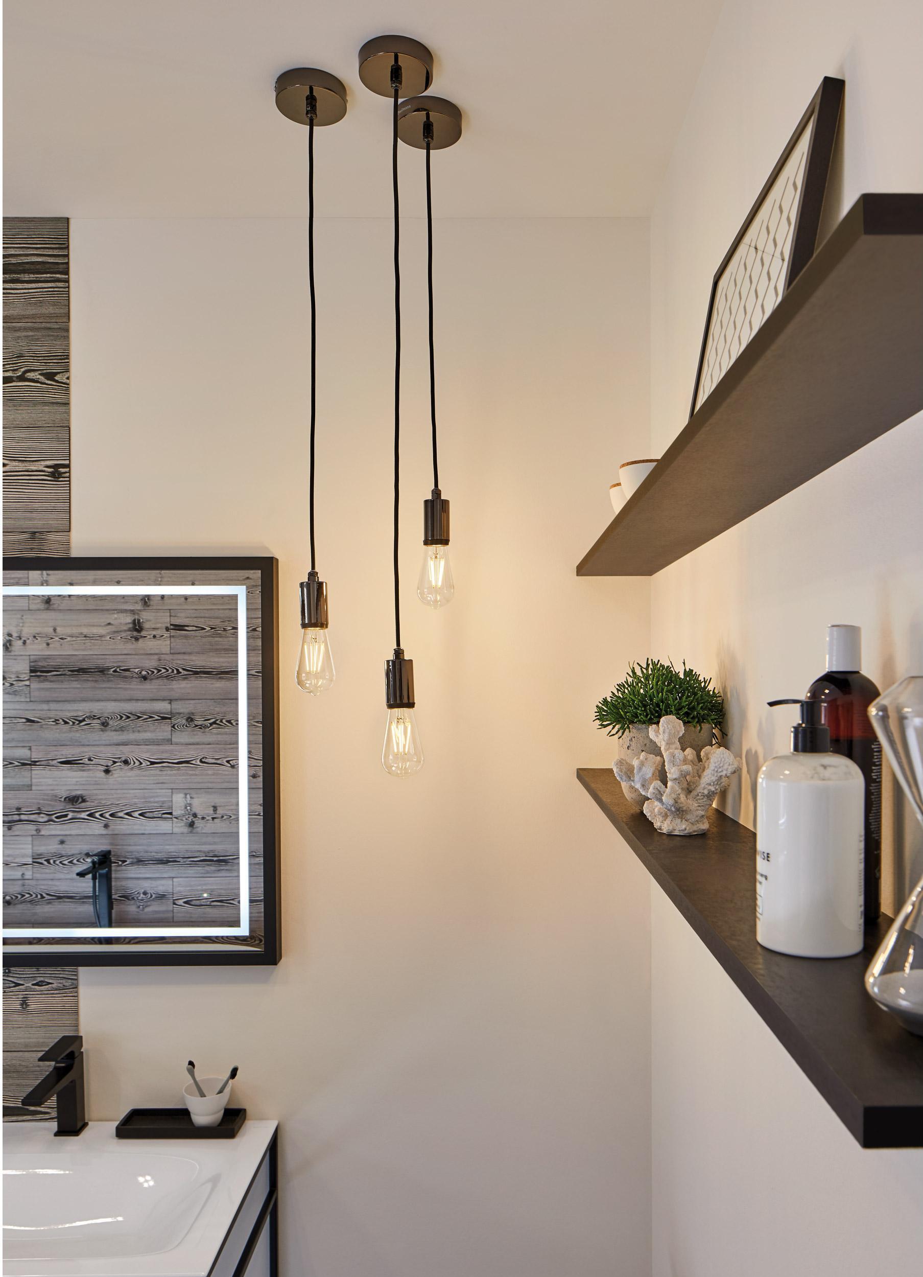 Suspension, design métal noir PAULMANN Salle de bain 1 lumière(s)