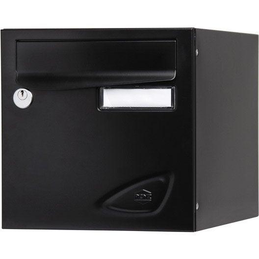 bo te aux lettres renz essentiel normalis e noir en acier. Black Bedroom Furniture Sets. Home Design Ideas
