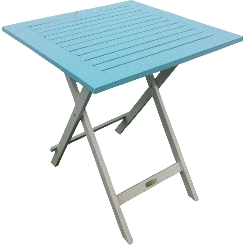 Table de jardin city green burano carr e bleu 2 personnes - Table jardin 2 personnes ...