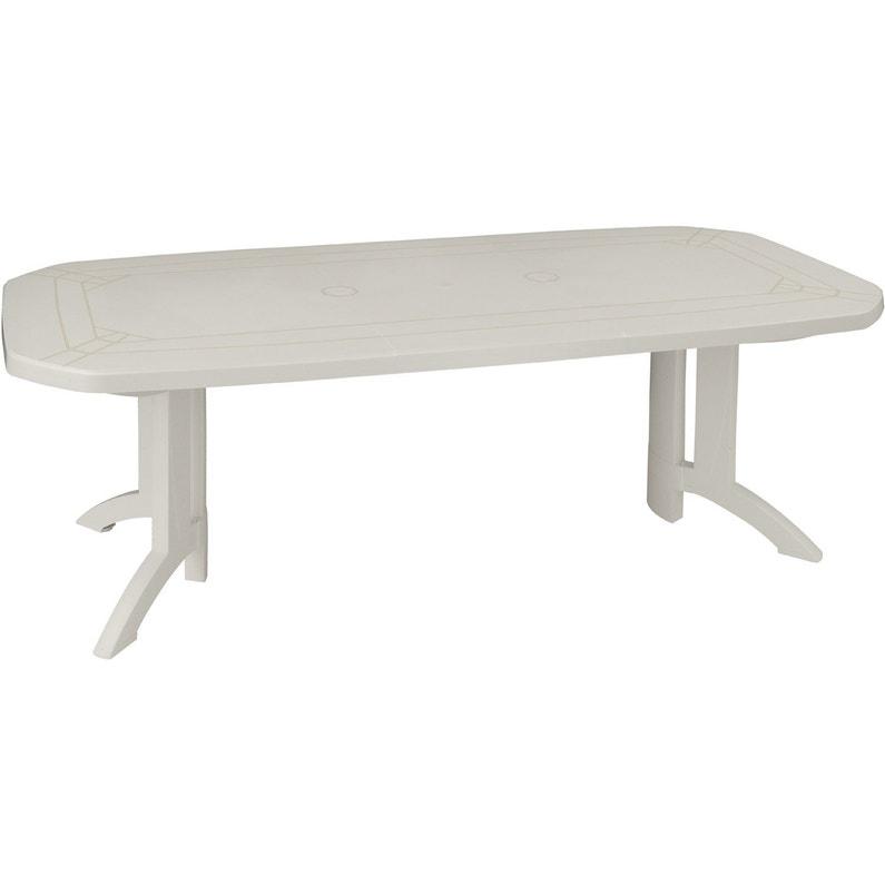 Table de jardin GROSFILLEX Véga rectangulaire blanc 10 personnes ...