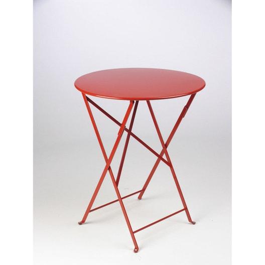 table de jardin fermob bistro ronde coquelicot 2 personnes leroy merlin. Black Bedroom Furniture Sets. Home Design Ideas