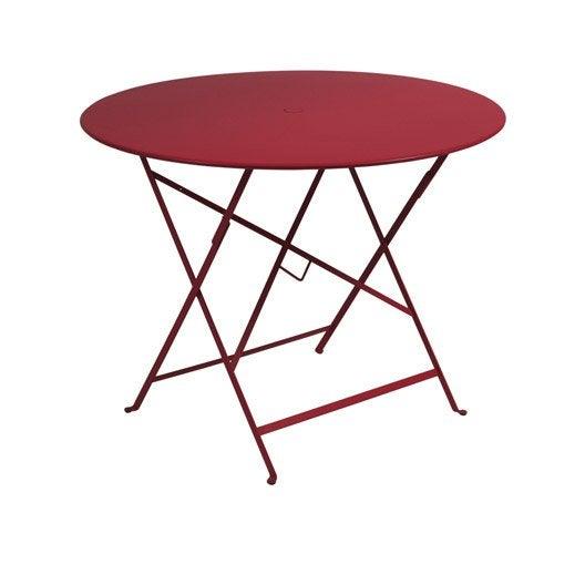 table de jardin fermob bistro ronde piment 4 personnes. Black Bedroom Furniture Sets. Home Design Ideas