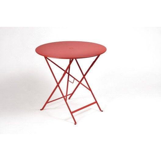 Table De Jardin Fermob Bistro Ronde Coquelicot Leroy Merlin