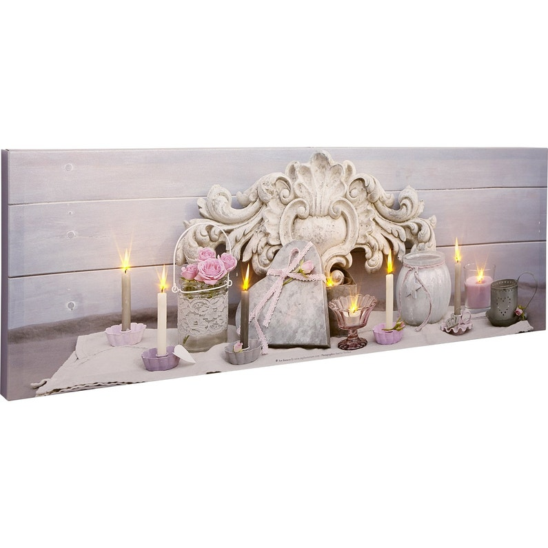 Toile Led Coeur Roses Roses Bougies Pots 90x30 Cm