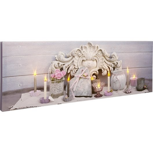 Toile led coeur roses roses bougies pots 90x30 cm for Pot lumineux leroy merlin