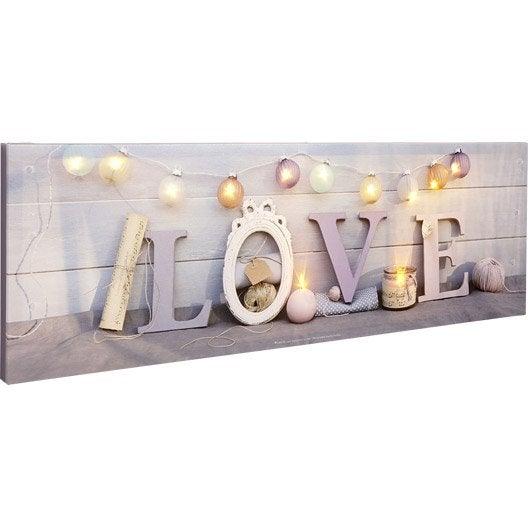Toile led mot love guirlande bougies 90x30 cm leroy for Miroir 90x30