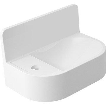 Lave-mains résine + marbre rectangle blanc l.36.5 x P.22.2 cm, Dosseret