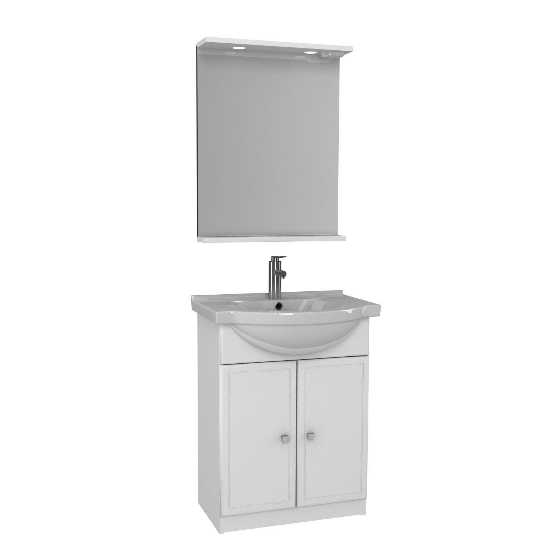 Meuble vasque 65 cm blanc galice leroy merlin for Meuble salle de bain 75 cm