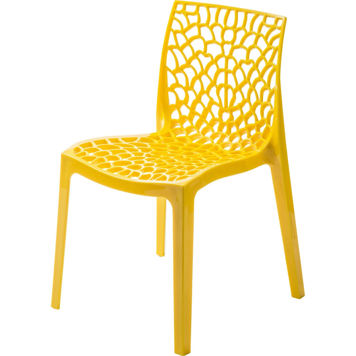 Chaise de jardin en r sine grafik jaune leroy merlin for Chaise jaune design