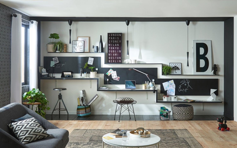 Un bureau escalier pour travailler en famille
