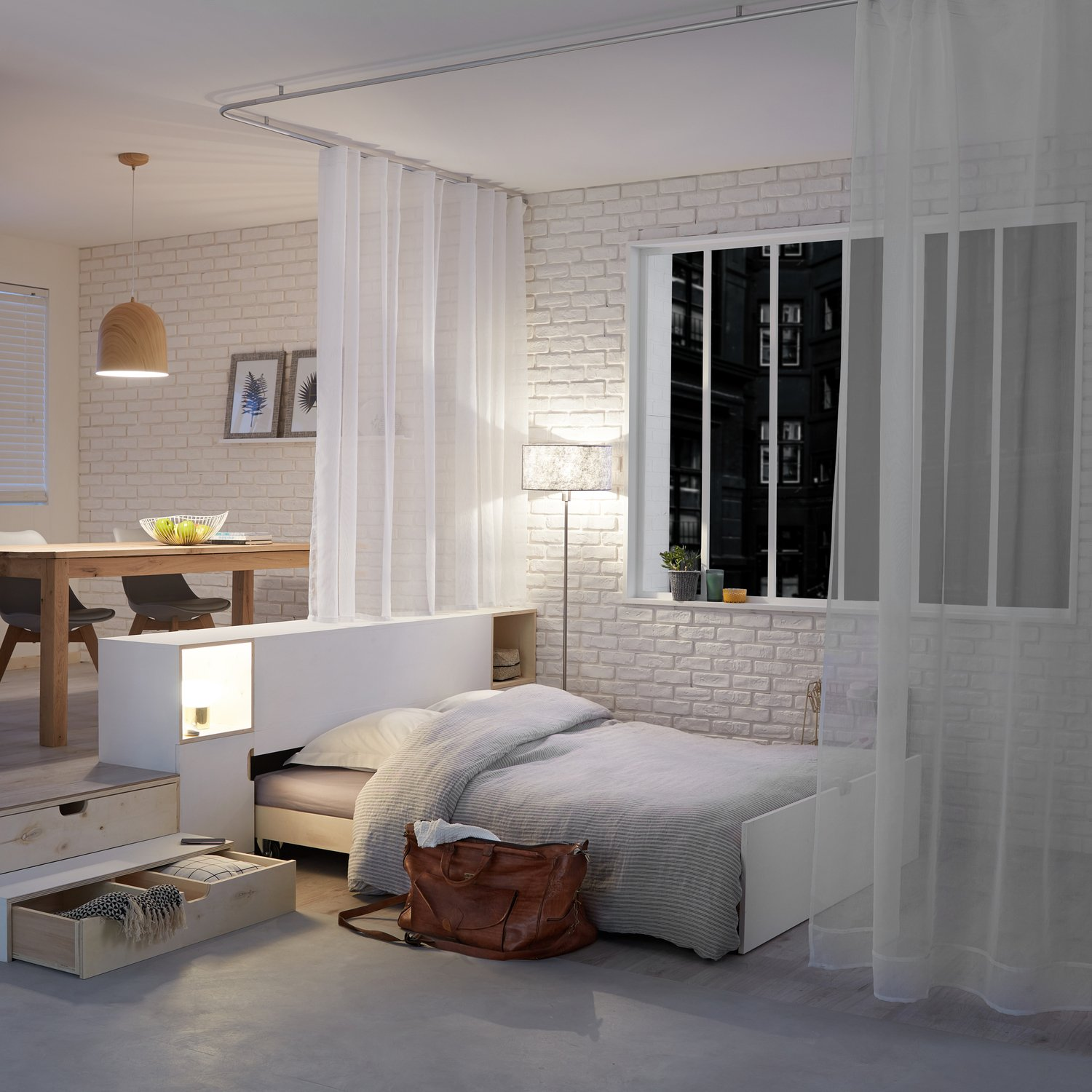 un lit deux places dans la pi ce vivre leroy merlin. Black Bedroom Furniture Sets. Home Design Ideas