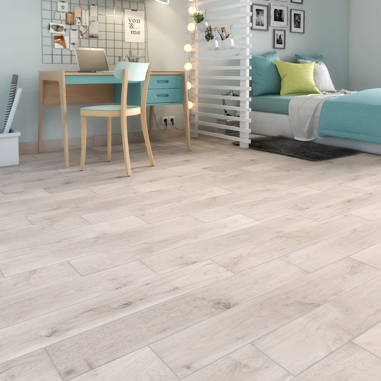 Carrelage sol et mur forte effet bois blanc Spania l.15 x L.90 cm