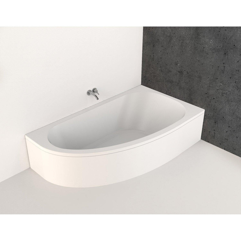 baignoire flavis Baignoire asymétrique droite L.160x l.90 cm blanc Nerea 3700136601887