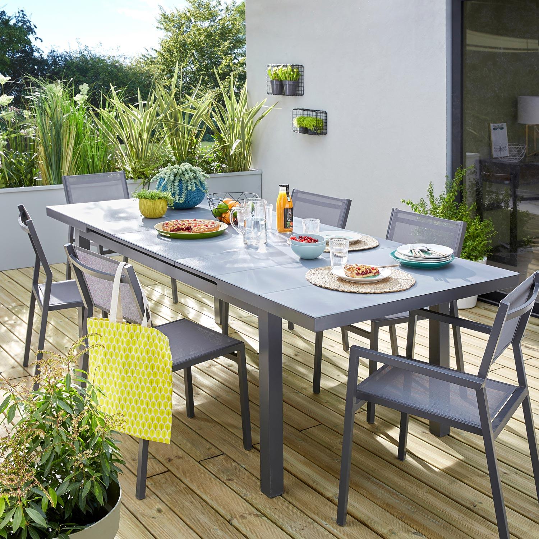 table de jardin naterial niagara rectangulaire gris 6 8 personnes leroy merlin. Black Bedroom Furniture Sets. Home Design Ideas