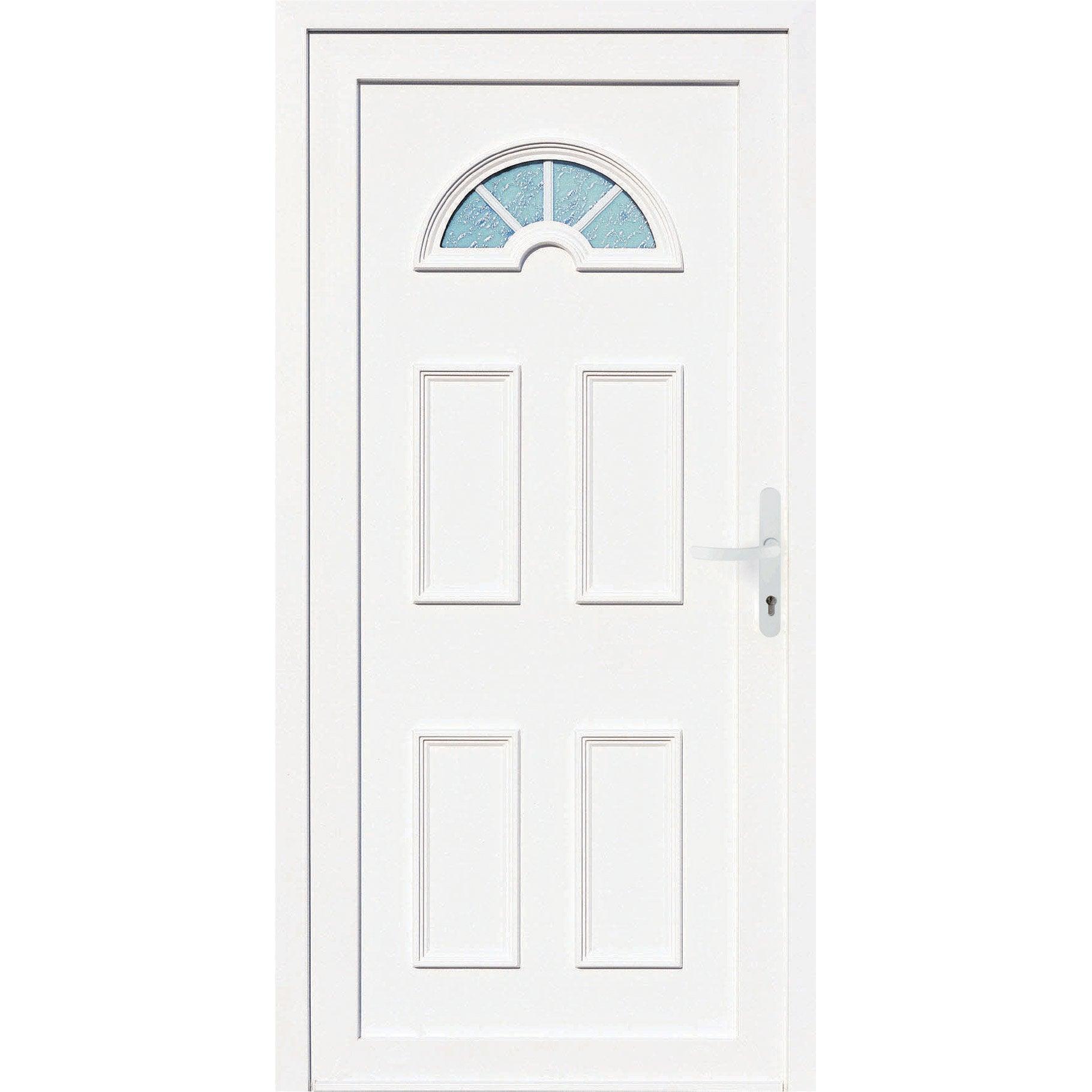 Comment Peindre Une Porte En Pvc porte d'entrée pvc elégance 2 primo h.215 x l.90 cm vitrée blanc, poussant  droit