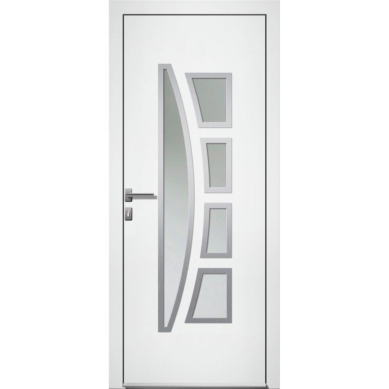 Porte D Entrée Alu Riwa Essentiel H 215 X L 90 Cm Vitrée Blanc Pd