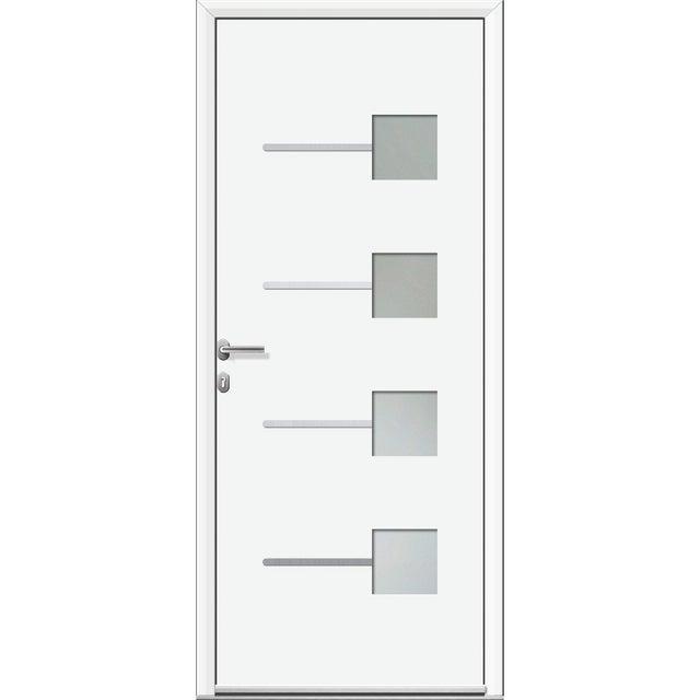 Porte Dentrée Alu Soria 2 Essentiel H215 X L90 Cm Vitrée Blanc Pou Droit