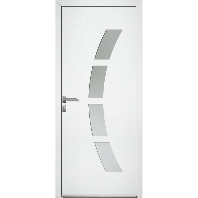 Porte D Entrée Alu Toledo 2 Essentiel H 215 X L 90 Cm Vitrée Blanc Pd
