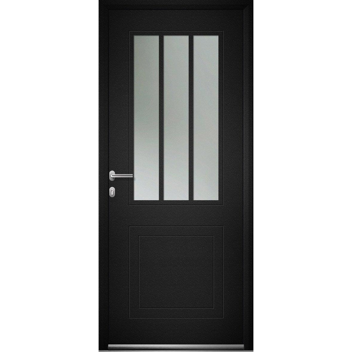 Porte D Entrée Alu Atelier Premium H 215 X L 90 Cm Vitrée Noir Pd