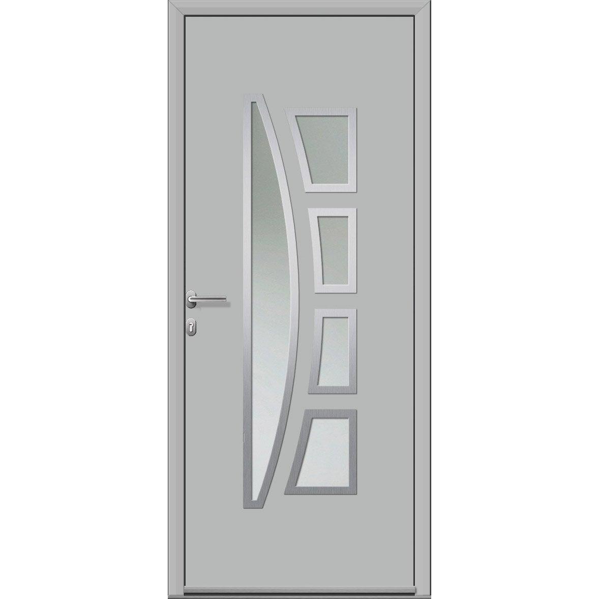 Porte Bois Gris Clair porte d'entrée alu riwa essentiel h.215 x l.90 cm vitrée gris clair, pou.  droit