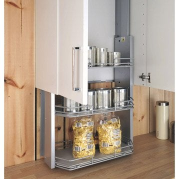 Rangement extractible 3 tag res pour meuble haut - Amenagement interieur meuble cuisine leroy merlin ...