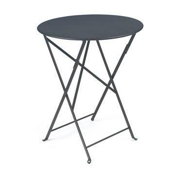 Table de jardin FERMOB Bistro ronde gris orage 2 personnes