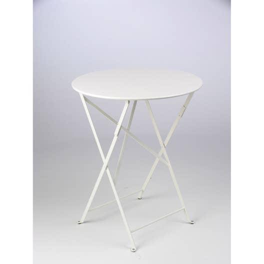 table de jardin fermob bistro ronde blanche 2 personnes leroy merlin. Black Bedroom Furniture Sets. Home Design Ideas