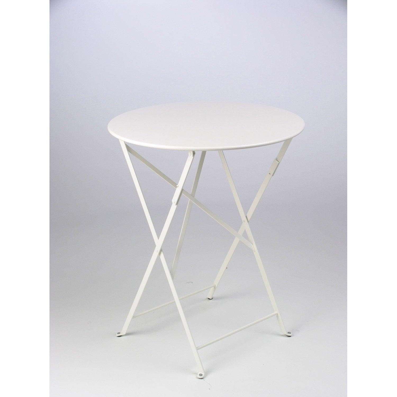 Table de jardin de repas FERMOB Bistro ronde blanc 2 personnes ...